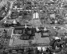 Aerial photo of the church dated around 1970